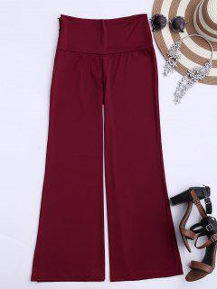 Soft High Waisted Palazzo Pants - Wine Red S