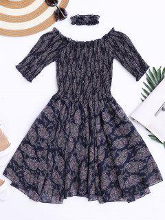 Aus Schulter Shirred Taille Paisley Choker Kleid - Dunkelblau