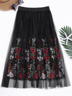 Layered Embroidered High Waisted Mesh Skirt - Black
