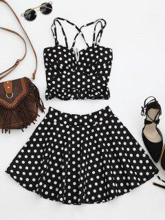 Padded Polka Dot Crop Top And Circle Skirt - Black