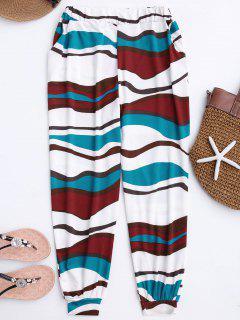 Soft Colorful Zebra Pattern Slouchy Pants