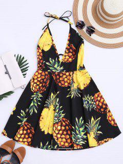 Tropical Pineapple Halter Swing Dress - Black M