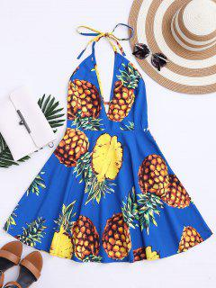 Tropical Pineapple Halter Swing Dress - Blue L