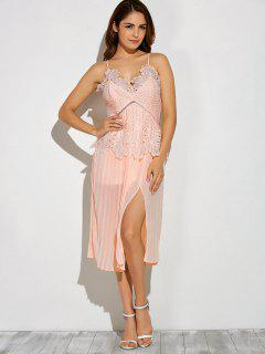 Slit Lace Spliced Slip Dress - Pink L