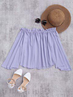 Chiffon Off The Shoulder Ruffles Blouse - Light Purple L