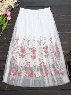 Layered Embroidered High Waisted Mesh Skirt - White
