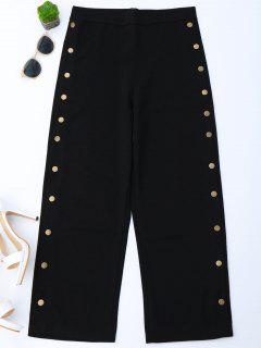 High Waisted Buttons Side Gaucho Pants - Black Xl