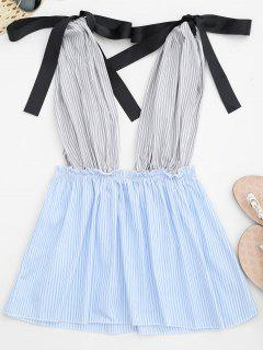 Striped Plunge Peplum Tank Top - Strip Pattern M