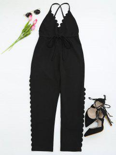 Scalloped Straight Cut Suspender Pants - Black S