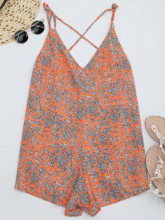 Printed Strappy Wide Leg Romper - Bright Orange Xl