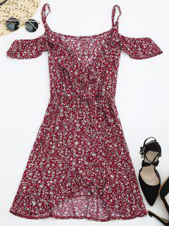 Tiny Floral Crossover Cold Shoulder Dress - Red Xl