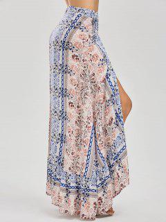Printed Asymmetrical Wrap Skirt - Floral L