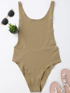 Skinny Sleeveless Backless Bodysuit - Khaki M