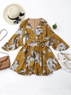 Belted Flare Sleeve Floral Surplice Dress - Floral S