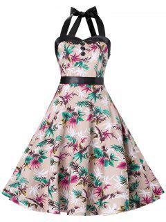 Vestido De Corsé De Vintage De Halter Con Tiras Cruzadas  - Tez L