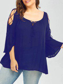 Scoop Neck Lace-Up Plus Size Top - Blue 4xl