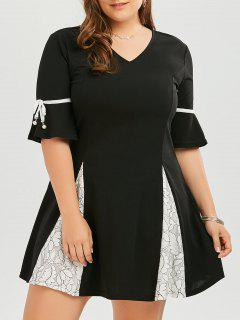 Plus Size Lace Trim Flare Sleeve Skater Dress - Black 4xl