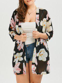 Plus Size Printed Chiffon Floral Long Kimono - Black 2xl