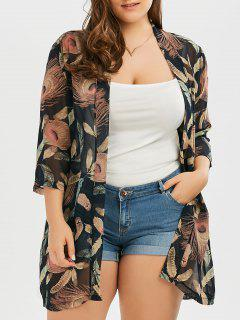 Plus Size Feather Print Collarless Chiffon Kimono - Black 3xl