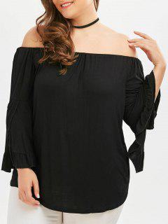 Off The Shoulder Flare Sleeve Plus Size Tee - Black 3xl