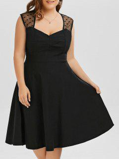 Vintage Mesh Trim A Line Plus Size Dress - Black 6xl