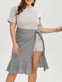 Plus Size T-shirt Dress And Plaid Wrap Mermaid Skirt Set - Gray 2xl