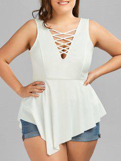 V Neck Crisscross Asymmetrical Plus Size Top - White 5xl
