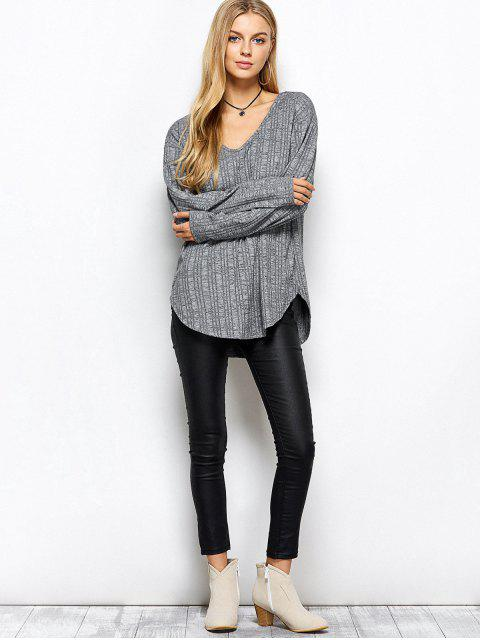 womens V Neck Cut Out Loose T-Shirt - GRAY XL Mobile