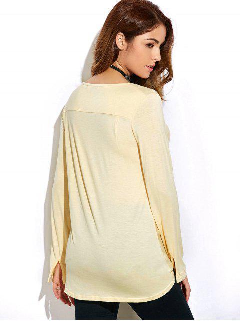 T-shirt à avant torsadé et manches longues - Blanc Cassé 2XL Mobile