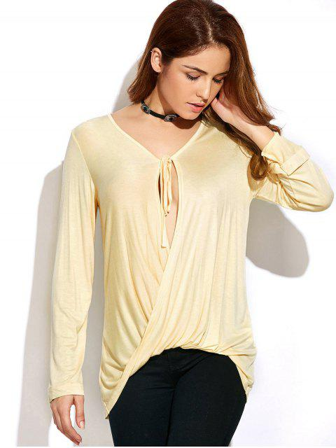 hot Twisted Front Long Sleeve T-Shirt - OFF-WHITE XL Mobile