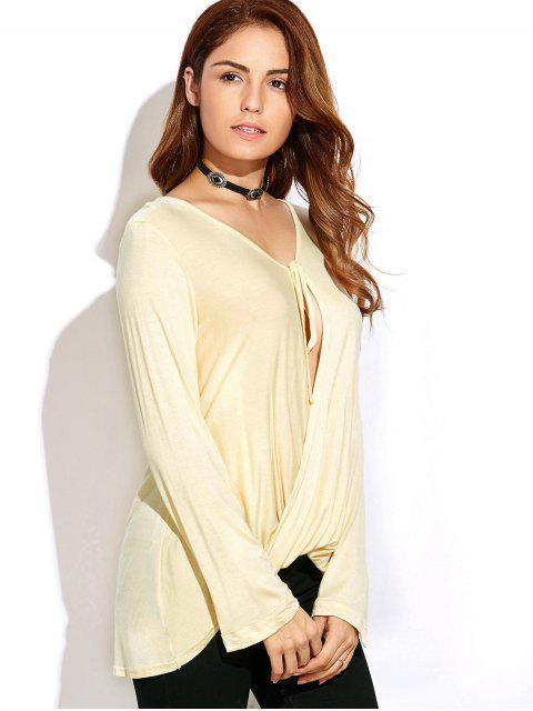T-shirt à avant torsadé et manches longues - Blanc Cassé M Mobile