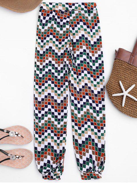 womens Soft Mosaic Pattern Slouchy Pants - COLORMIX ONE SIZE Mobile