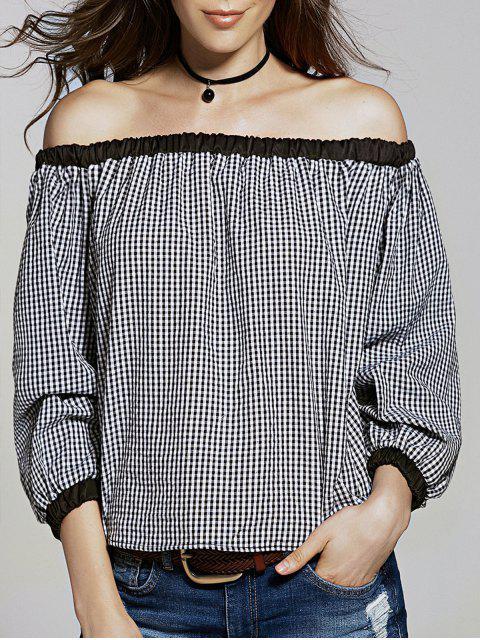Vrac Vérifié Off The Shoulder manches T-shirt Lanterne - Blanc et Noir 2XL Mobile