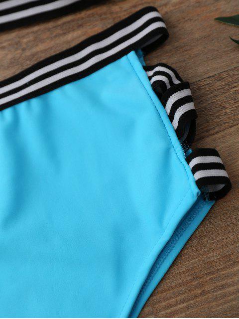 latest High Waisted Spaghetti Straps Bikini Set - WATER BLUE L Mobile