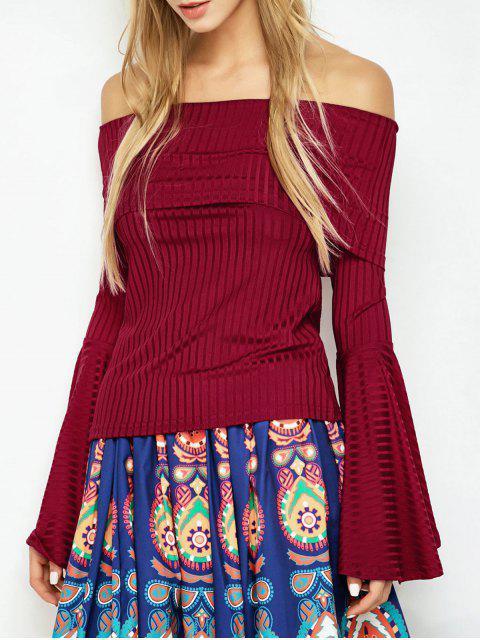 affordable Flare Sleeve Off Shoulder T-Shirt - RED L Mobile