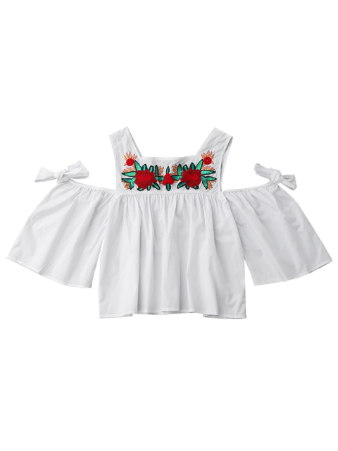 Top épaule à froid floral à sequins - Blanc S Mobile