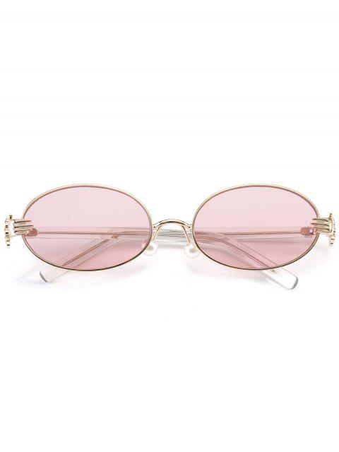 lady Metal Hand Faux Pearl Nose Pad Oval Sunglasses - PINK  Mobile