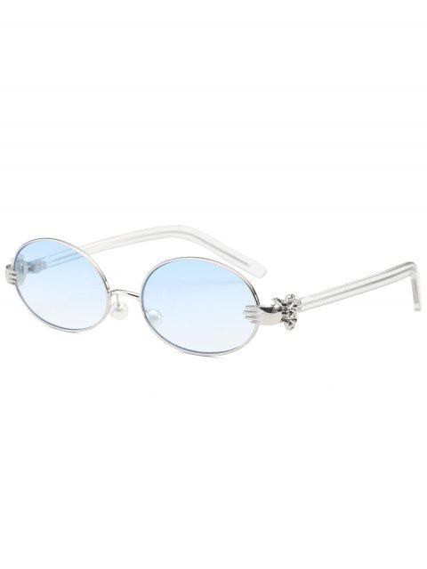 online Metal Hand Faux Pearl Nose Pad Oval Sunglasses - LIGHT BLUE  Mobile