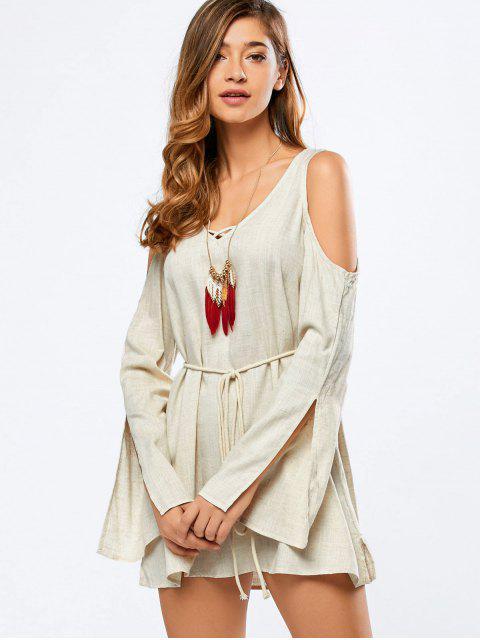 Cold Shoulder Robe manches de Split - Blanc Cassé 2XL Mobile