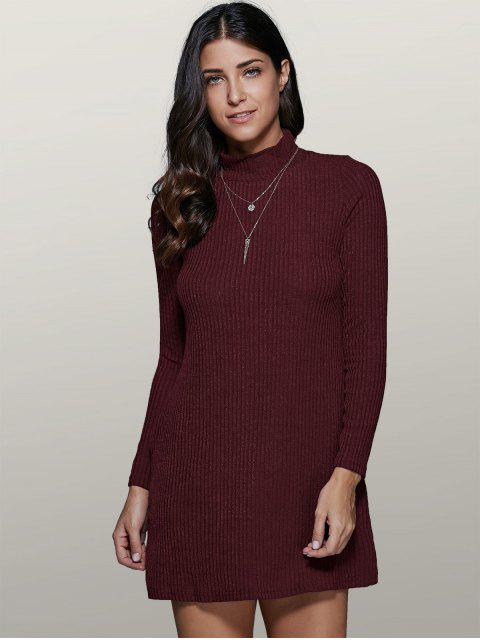 outfits Mini A Line Long Sleeve Sweater Dress - WINE RED S Mobile