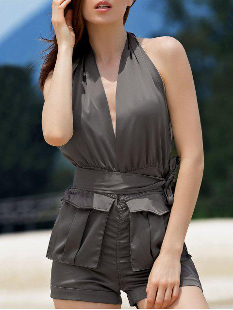 unique Halter Backless Big Pocket Romper - BROWN M Mobile