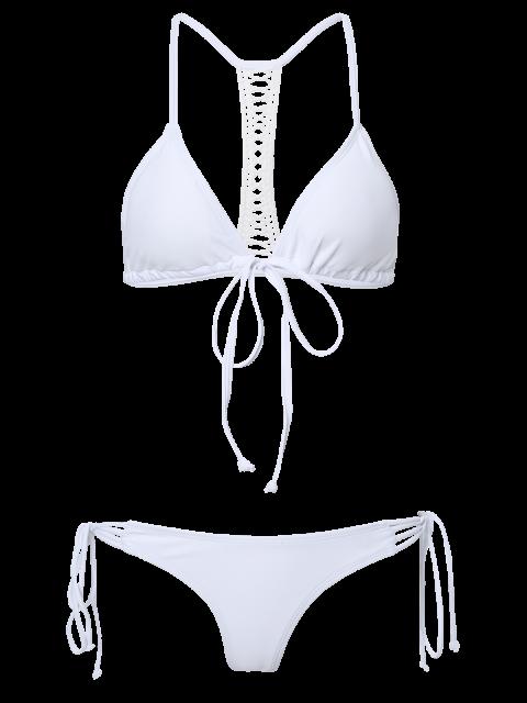 ladies Solid Color String Spaghetti Straps Bikini Set - WHITE L Mobile