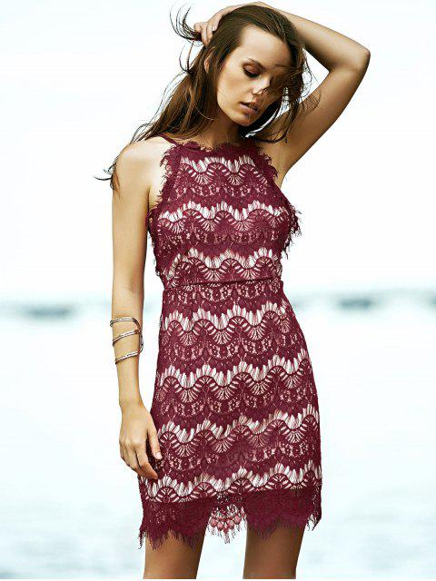 ladies Red Lace Spaghetti Straps Semi Formal Dress - RED S Mobile
