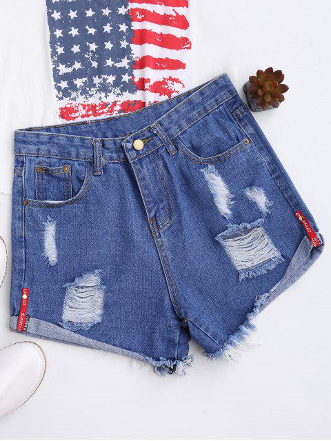 unique High Waisted Curled Hem Ripped Denim Shorts - BLUE XL Mobile