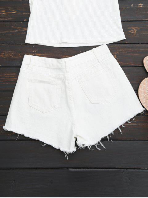 Brodé Brodé Hem Ripped Denim Short - Blanc S Mobile