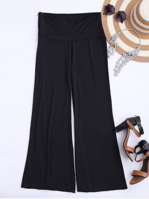online Soft High Waisted Palazzo Pants - BLACK 2XL Mobile