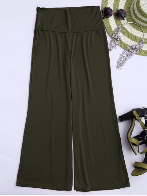 latest Soft High Waisted Palazzo Pants - ARMY GREEN L Mobile