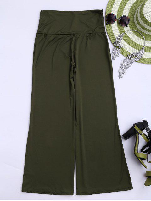 fashion Soft High Waisted Palazzo Pants - ARMY GREEN S Mobile