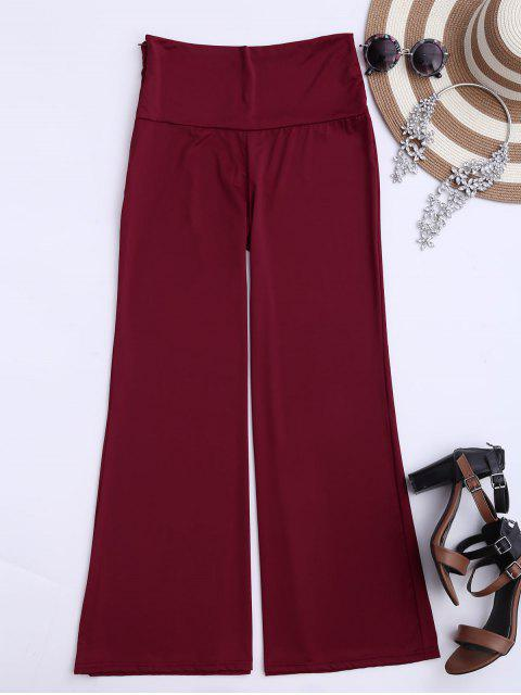 fancy Soft High Waisted Palazzo Pants - WINE RED XL Mobile