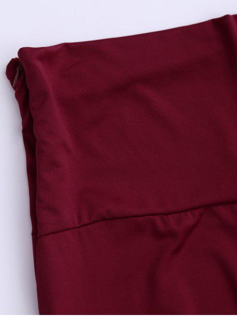 affordable Soft High Waisted Palazzo Pants - WINE RED S Mobile